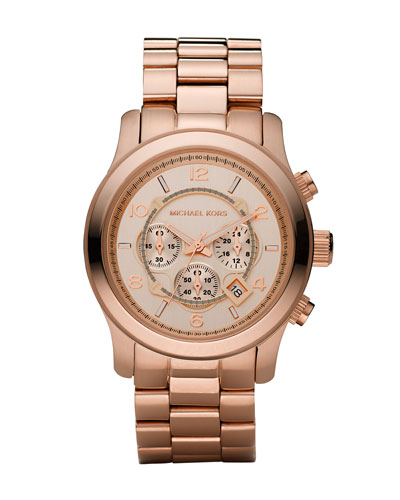 Rose Golden Oversized Chronograph Watch