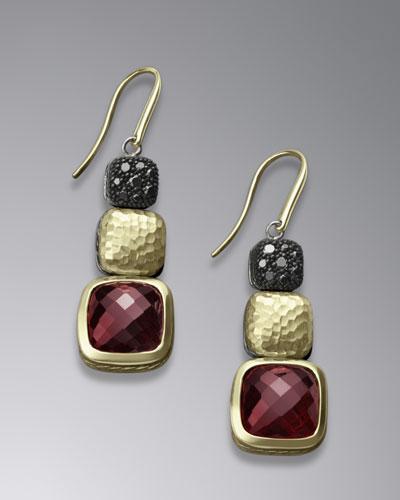David Yurman Chiclet Earrings, Garnet