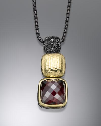 David Yurman Chiclet Necklace, Garnet