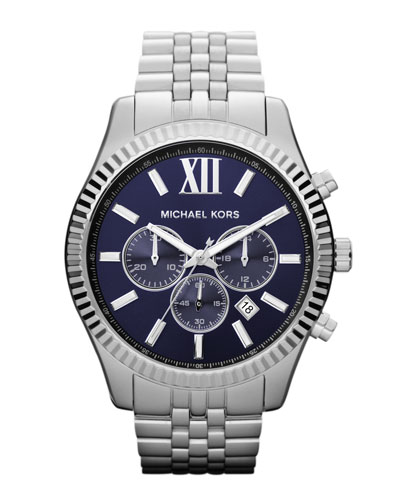 Michael Kors Oversize Silver Color Stainless Steel Lexington Chronograph Watch