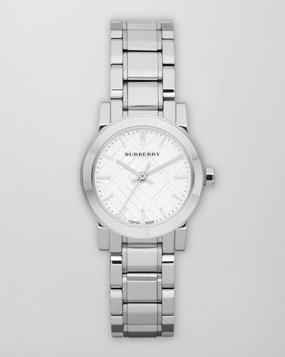 Burberry Check Stamp Round Watch, Steel
