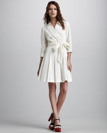 Milly Pleated Surplice Dress