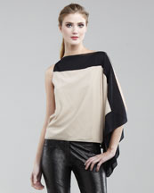 Robert Rodriguez Colorblock One-Sleeve Blouse