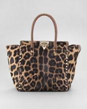 Valentino Rockstud Leopard-Print Tote