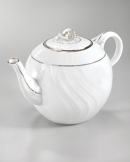 PLATINUM EDGE TEAPOT W/ROSE