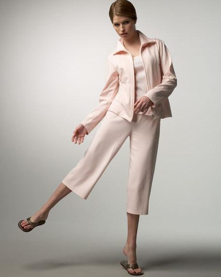 Joan Vass Stretch Pima Zip-Front Jacket, Striped Tank