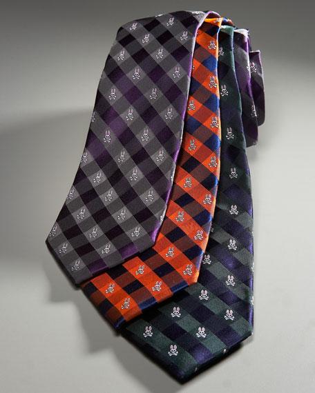 Silk Gingham Tie, Plum/Gray