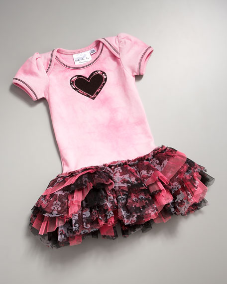 Heart Dress With Pleated Skirt, 0-12 Months