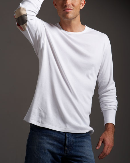 Elbow-Patch Long-Sleeve Tee, White