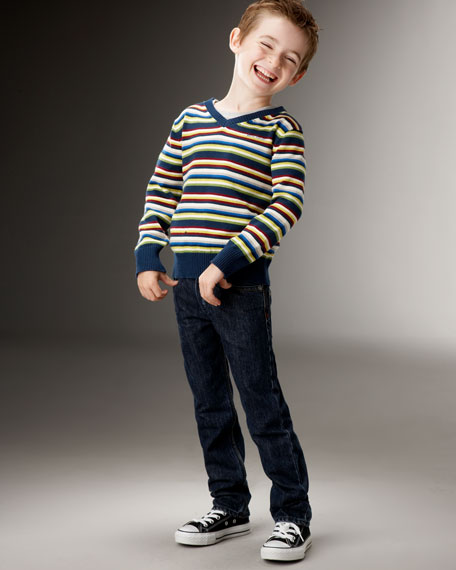 Long-Sleeve Striped Sweater, Sizes 2-6