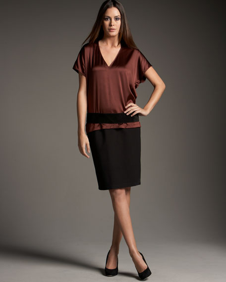 Stretch Silk V-Neck Top, Petite