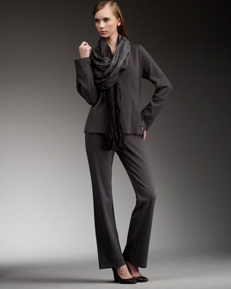 Notch-Collar Knit Jacket, Petite
