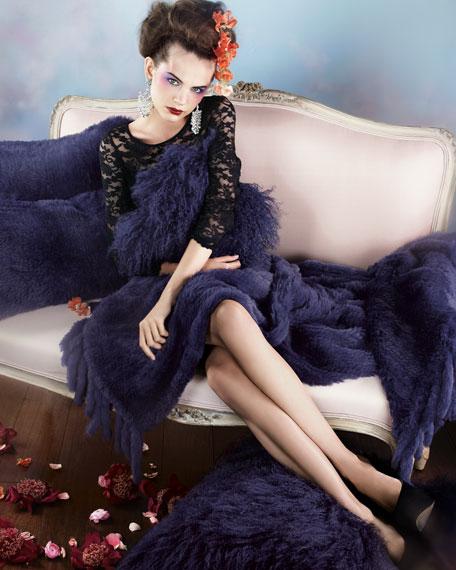 "Purple Mongolian Fleece Pillow, 26""Sq."