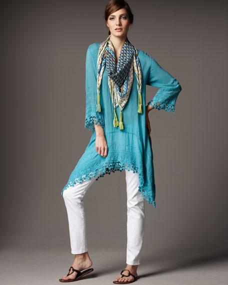 Georgette Lace-Trim Long Tunic, Women's