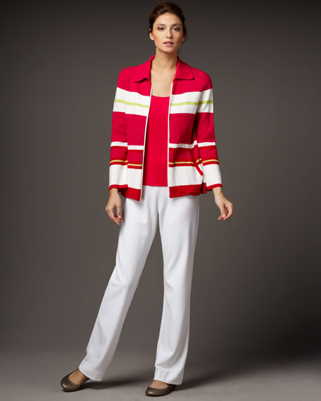 Striped Zip Top, Petite
