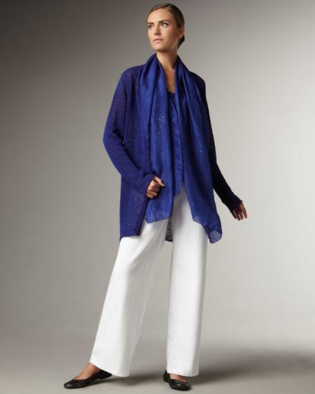Linen-Blend Sheer Open Cardigan, Women's