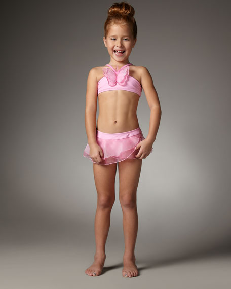 Butterfly Two-Piece Swimsuit, Sizes 7-10