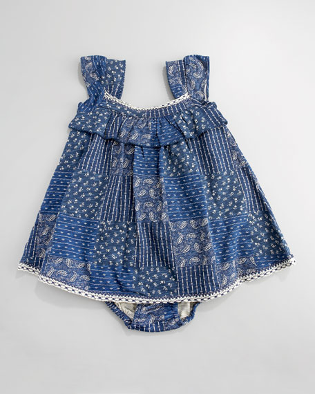 Patchwork-Print Dress, 3-9 Months