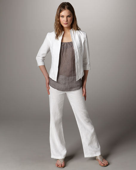 Classic Linen Three-Quarter Sleeve Jacket, Petite