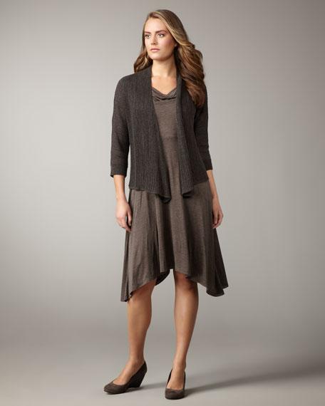 Linen-Silk Draped Cardigan, Women's