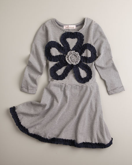 Ruffle-Flower Striped Dress, Sizes 2-4T