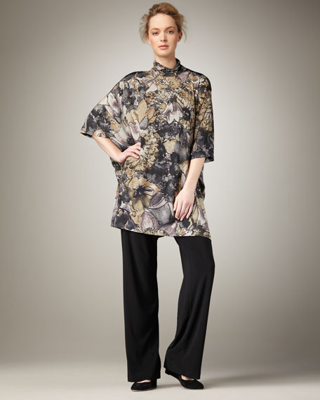 Floral-Print Caftan Tunic, Women's