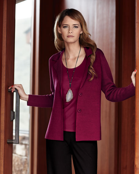 Silk Cotton Interlock Shaped Jacket, Petite