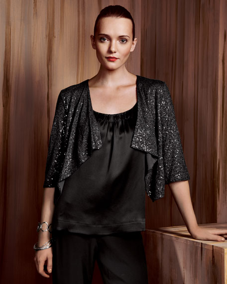 Eileen Fisher Sequined Drape-Front Cardigan, Satin Scoop-Neck