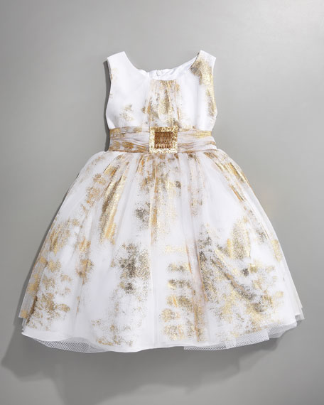 Golden-Stroked Party Dress, 2-6 Y