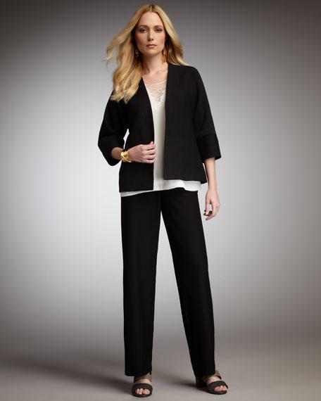 Washable-Crepe Wide-Leg Pants, Women's