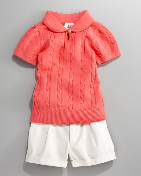 Watermelon Leanne Cable-Knit Sweater, Sizes 2-6