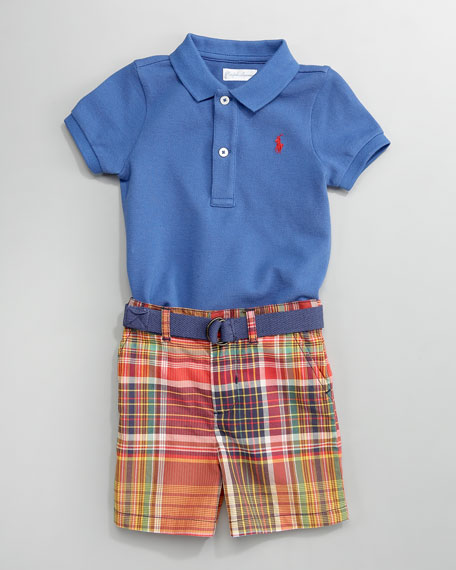 Polo & Patchwork Shorts Set, 3-9 Months
