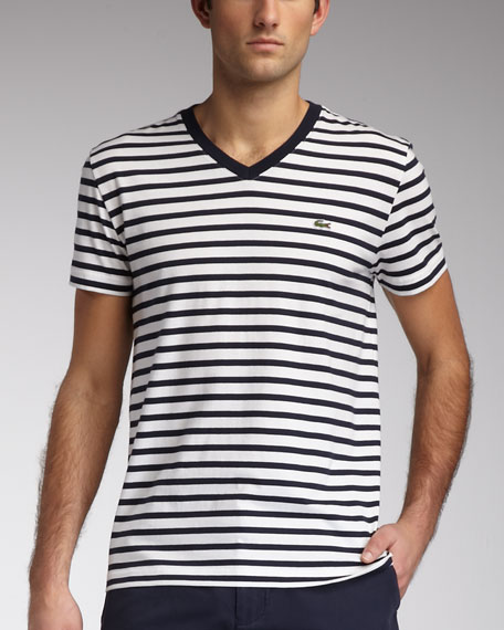Striped V-Neck Tee, Agave Red