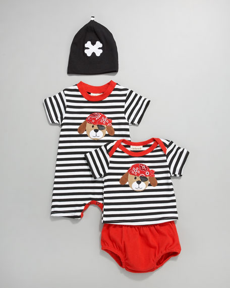 Puppy Pirate Striped Tee & Diaper Cover, Newborn