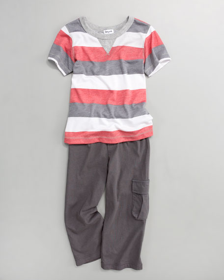 Red/Charcoal Melange Rugby Tee and Cargo Pants, Sizes 2T-4T
