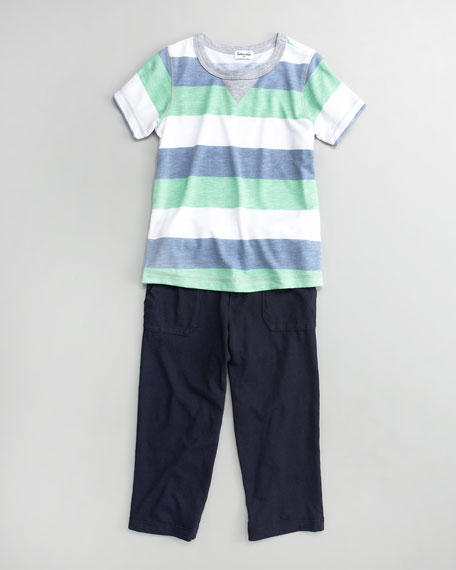 Green/Blue Melange Rugby Tee and Cargo Pants, Sizes 2T-4T