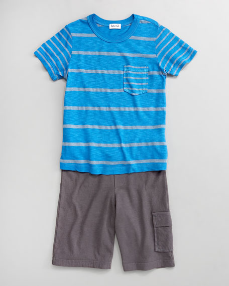 French Blue/Gray Chambray Mixed-Stripe Tee and Cargo Shorts, Sizes 2T-4T