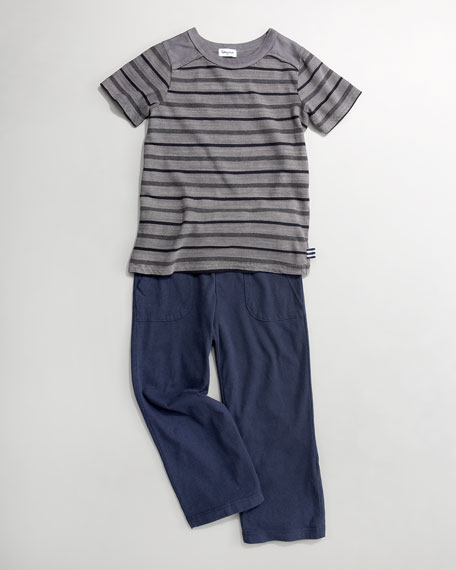 Slub Striped Tee with Pants, Sizes 4-6X