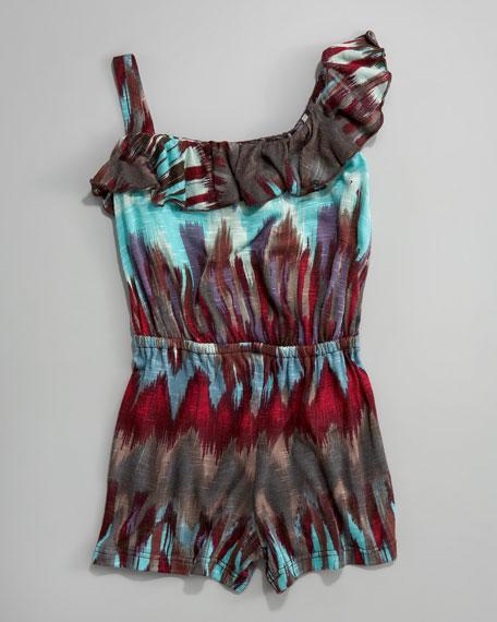 Asymmetric Ikat-Print Jumpsuit, Sizes 2T-4T