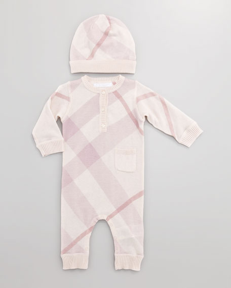 Cashmere-Cotton Check Playsuit, Pink