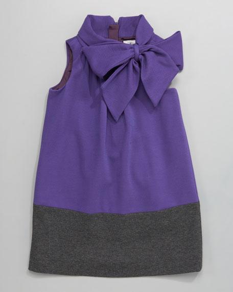 Purple Hallie Bow-Neck Dress, Sizes 2-7