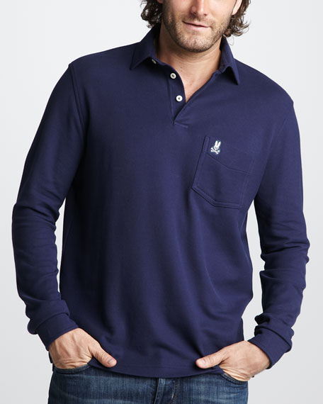 Classic Long-Sleeve Polo, White