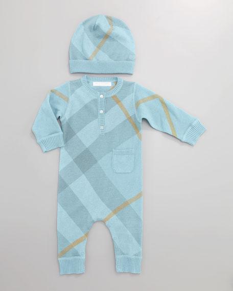 Cashmere-Cotton Check Playsuit, Turquoise