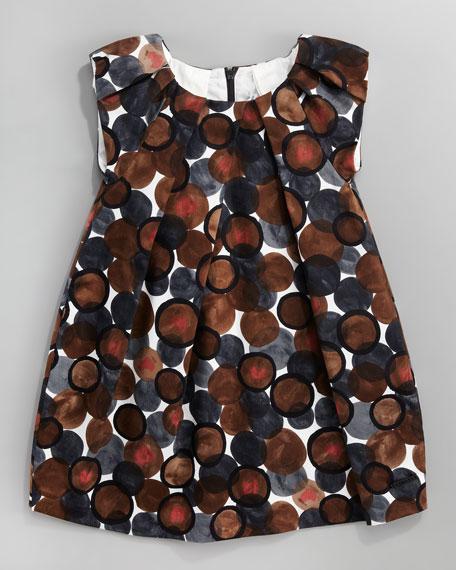 Circle-Print Satin Dress, Sizes 2-4