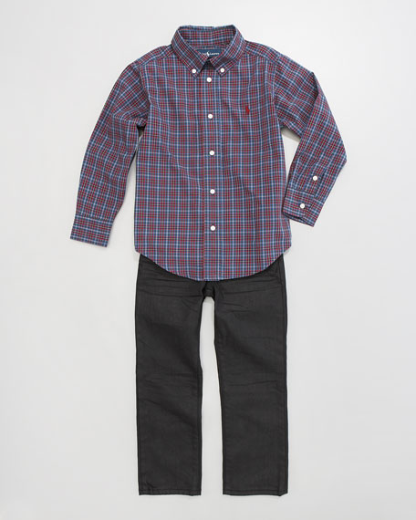Plaid Poplin Shirt, Sizes 2-7