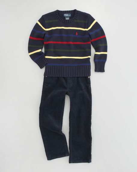 Corduroy Flat-Front Pants, Sizes 8-10