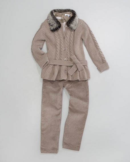 Comedie Cable-Knit Cardigan, Sizes 8-10