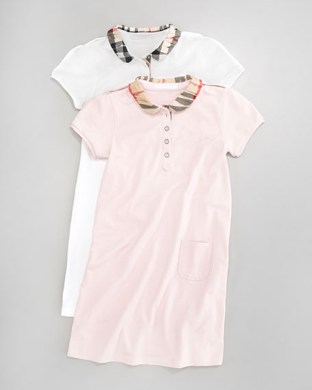 Pique Polo Dress, White