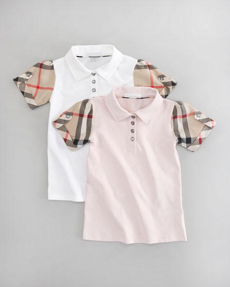 Check-Sleeve Polo, White