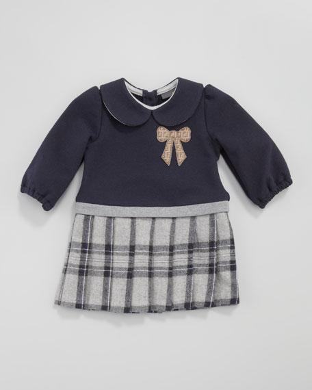 Logo-Bow Combo Dress, 12-24 Months
